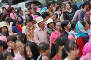 Chinese women lining up in a cervical cancer screening camp