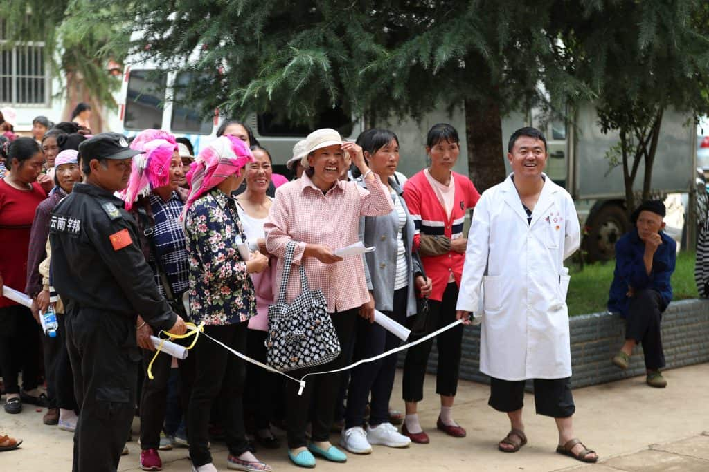 Chinese women waiting to be screened for cervical cancer at Yunnan Province screening brigade